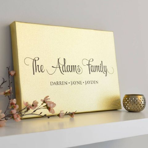Personalised Metallic Gold Family Canvas